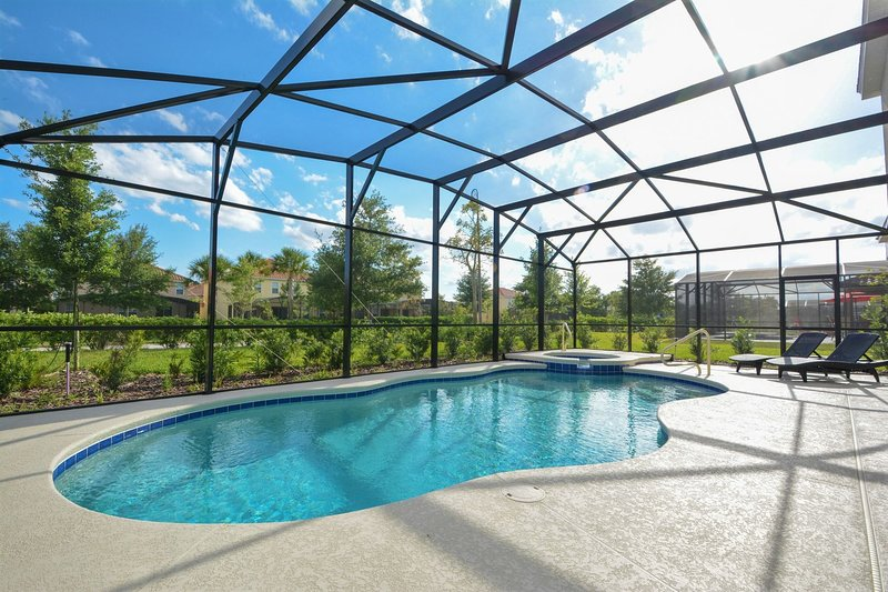 South-facing pool deck with plenty of space