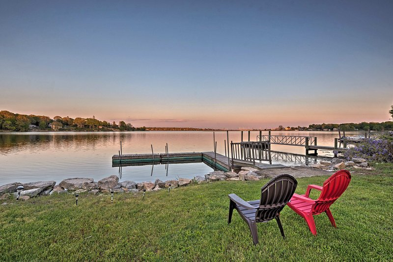 This waterfront apartment offers 2 bedrooms, 2 baths, and a shared dock.
