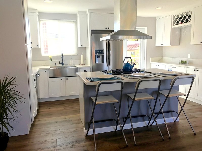 Chef's kitchen, brand new appliances, fully furnished.