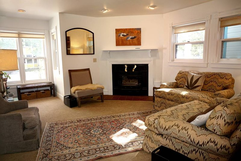 Comfortable living area with gas fireplace and oversized sofa chairs.