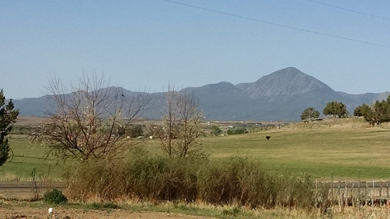 View of Sleeping Ute Mountain from cabin's front porch.
