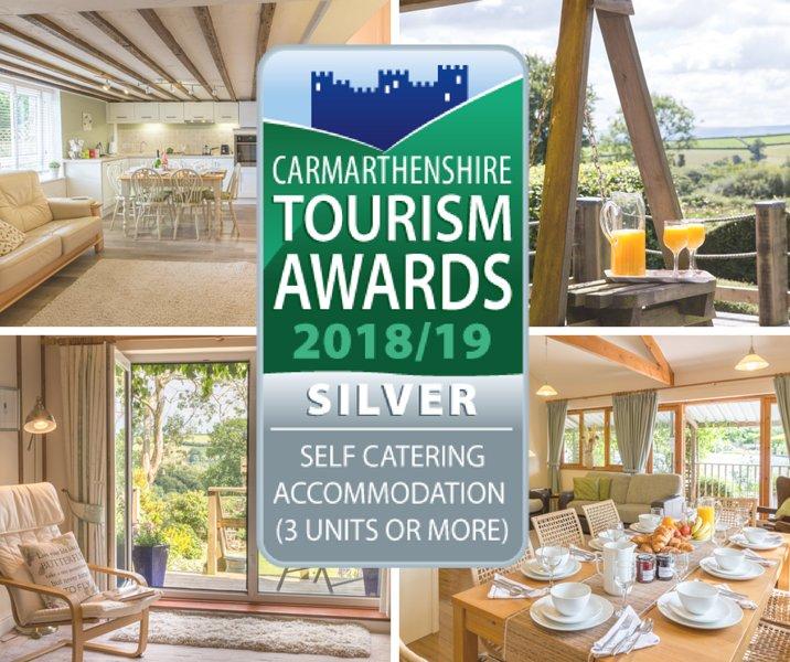 Plata otorgado por el Carmarthenshire tourisum a los Mejores Self-Catering Cottages