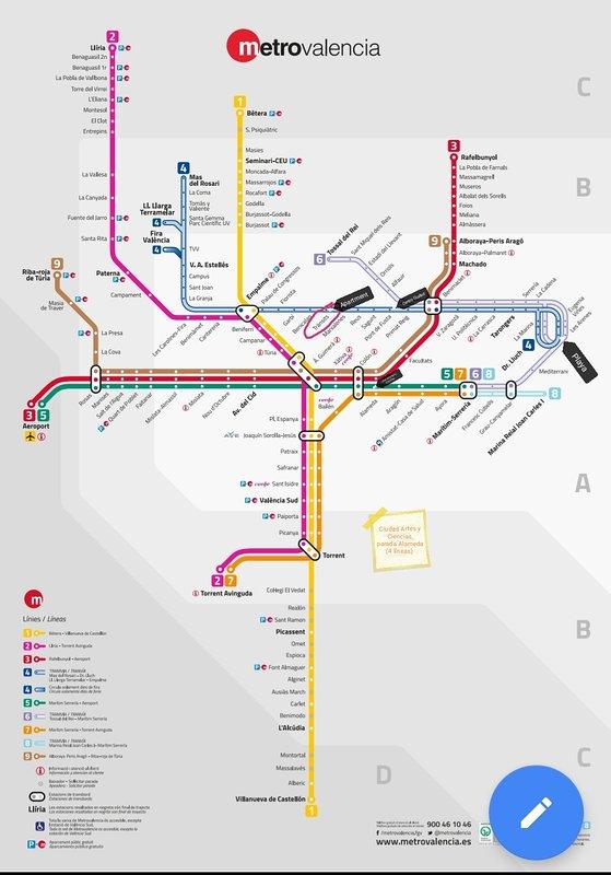 mappa della metropolitana con alcune indicazioni di interesse