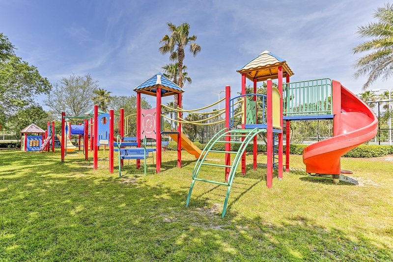 Kids will love the large jungle gym on-site.