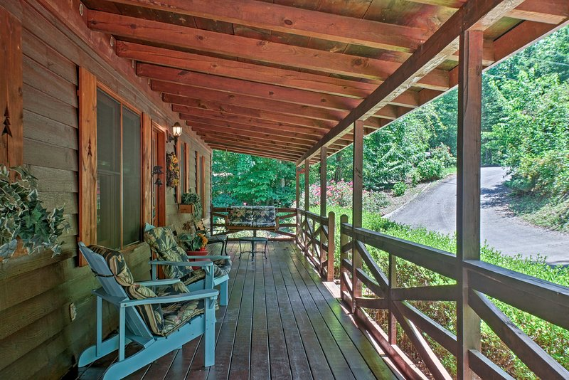 Covered Front Porch | Adirondack Chairs | Lighting