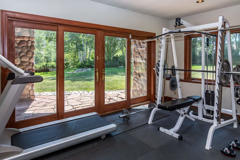 Private exercise room on lower level
