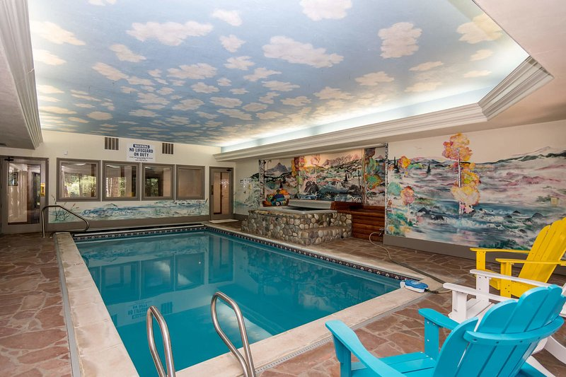 Private indoor pool and hot tub (lower level)
