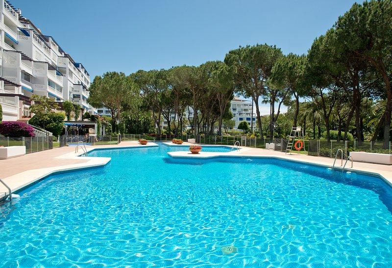Uno de los tres grandes piscinas. También hay 3 piscinas para niños y guardias de la vida de servicio.