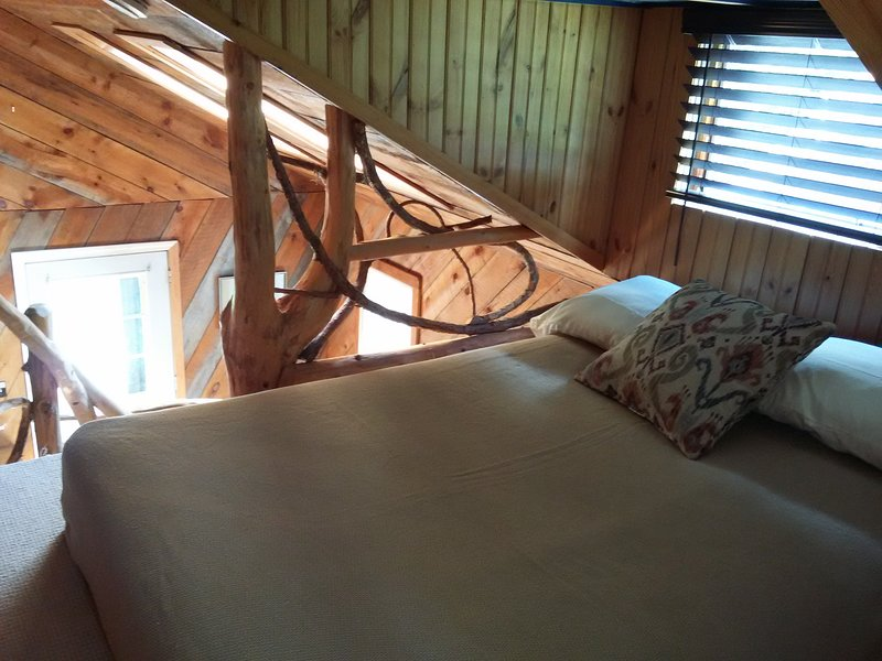 The cabin loft has a full bed and a view of the night sky