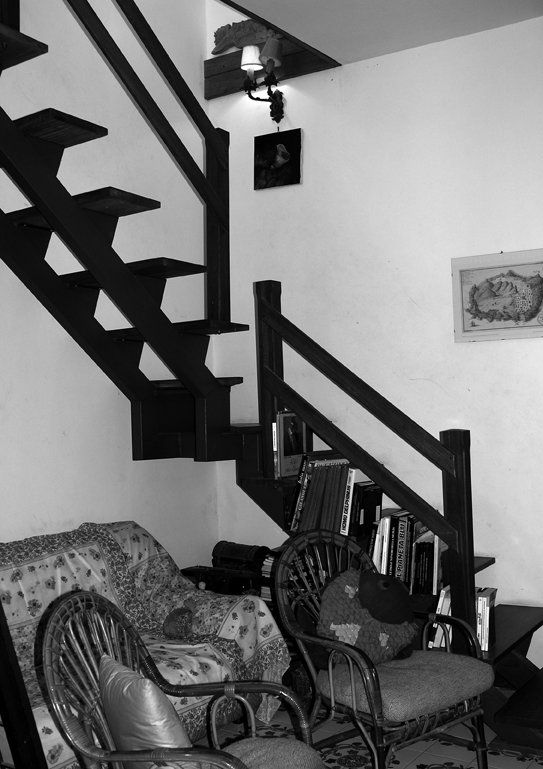 Stairway leading to the kitchen and terrace