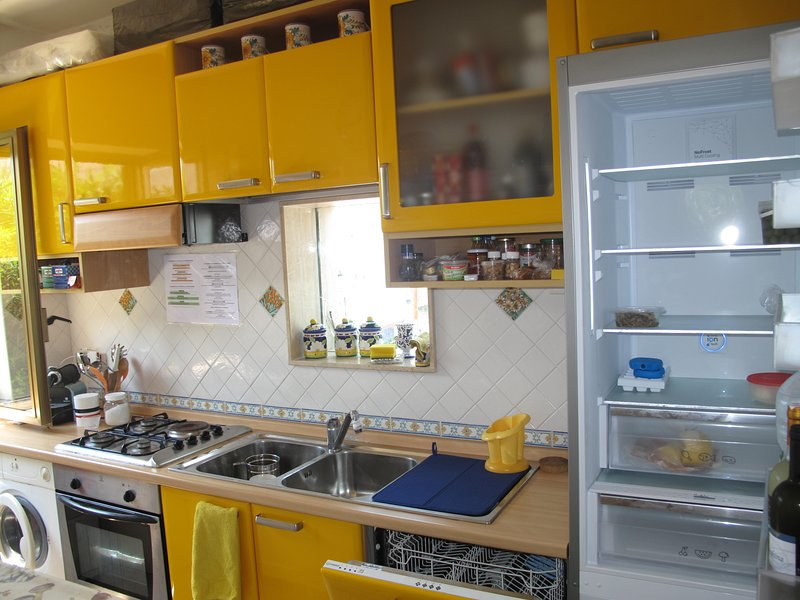 KITCHEN with GLASS view PANORAMIC TERRACE: OVEN, WASHING MACHINE with all accessories