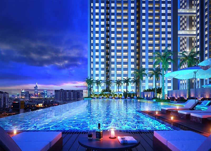 Beautiful sight of swimming pool at night can help you relax after a long day