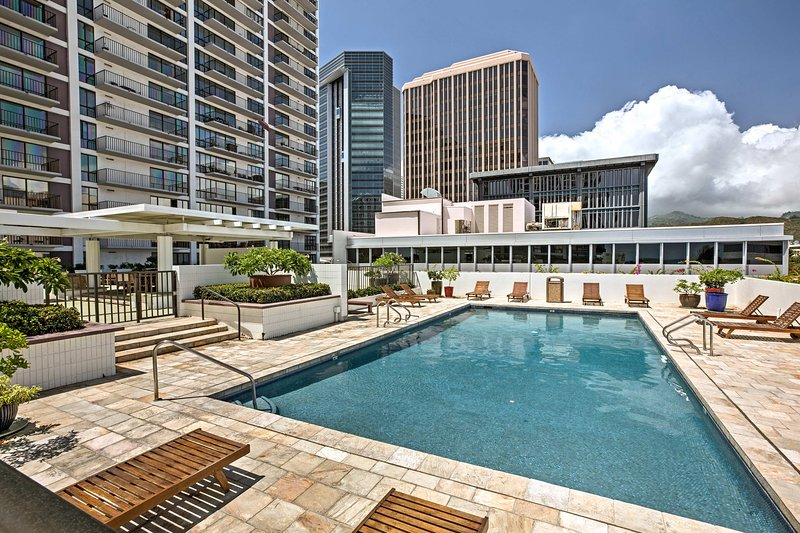 Relax by the pool at this 2-bedroom, 2-bath vacation rental condo.