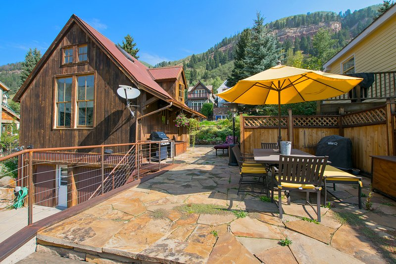Deck with incredible views of Telluride Ski Resort.