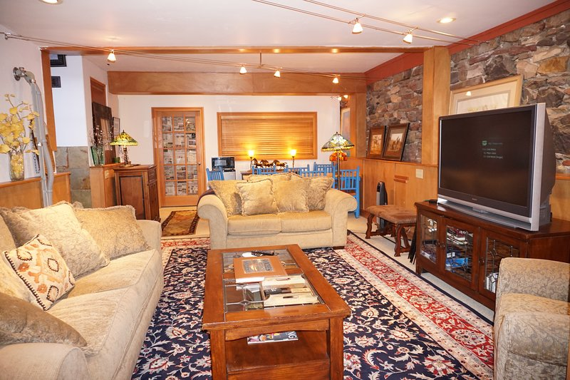 Comfortable space with lots of seating for watching movies or the big game.