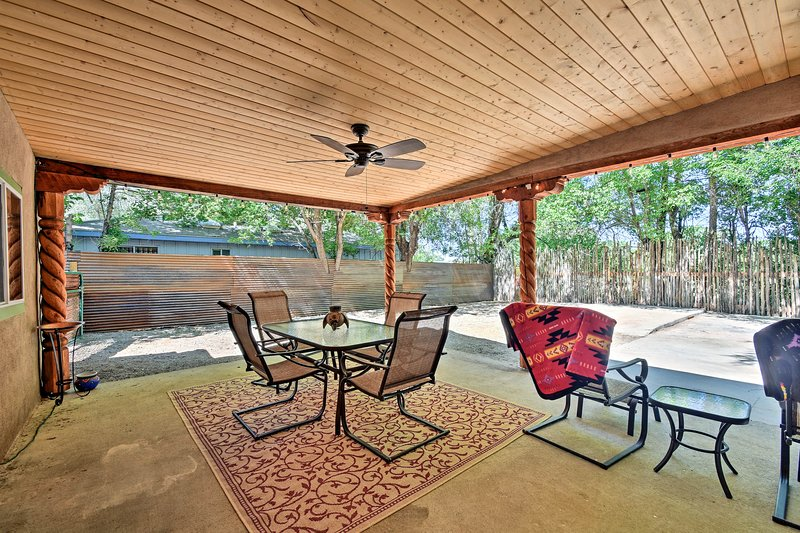 With a furnished patio and beds for 8, this home can't be beaten!