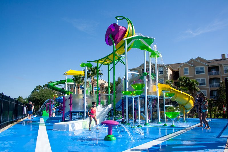 Brand new!  Toddler splash area and dueling slides for lots of fun!
