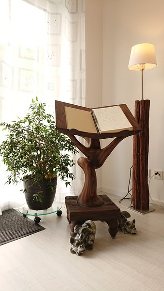 Our book stand for the book. Made by the artist of the dragon house image.