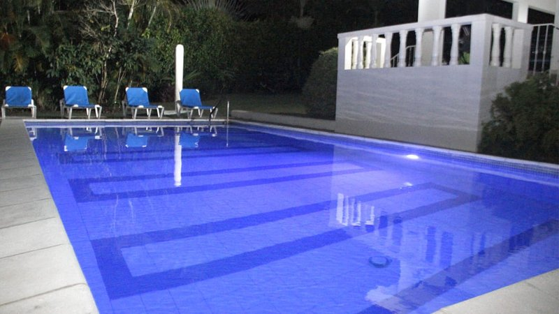 Night View of the Private Pool with Mood Lights!