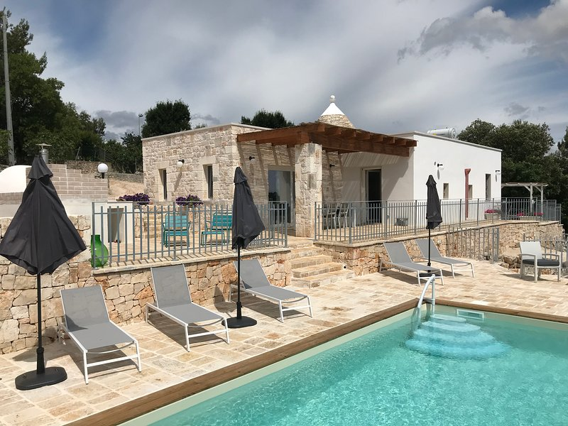 Spoil yourselves at Trullo Falco luxury villa, 3 ensuite bedrooms,  WiFi,Pool, and BBQ zone.
