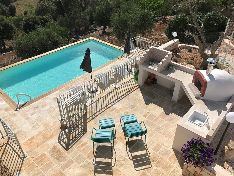 After a hard days sunbathing just step up onto the terrace above and light the BBQ overlooking pool.