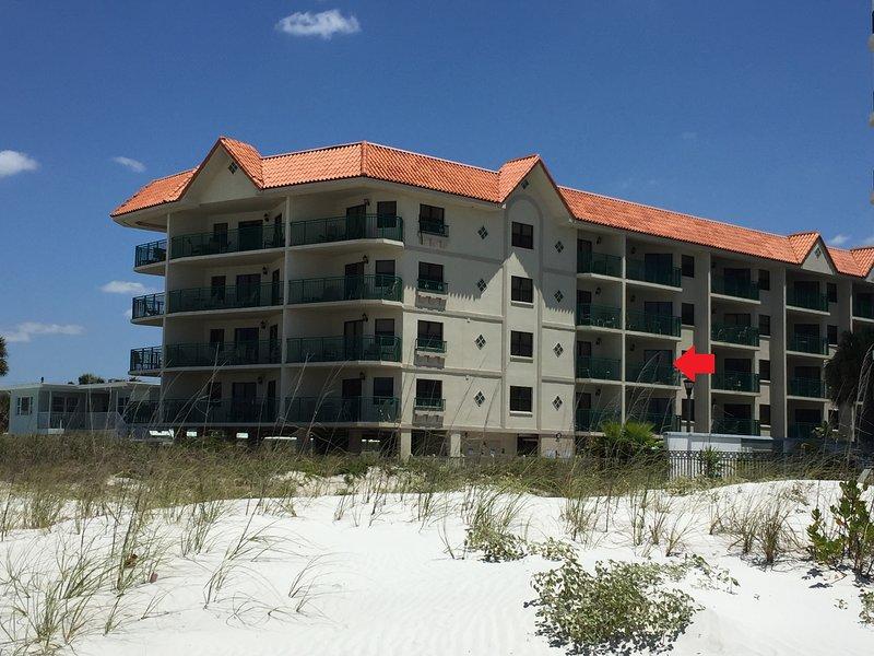 Notre unité est 304, troisième étage avec vue fantastique sur le golfe. Le bâtiment entier est incliné pour la vue du sud-ouest.