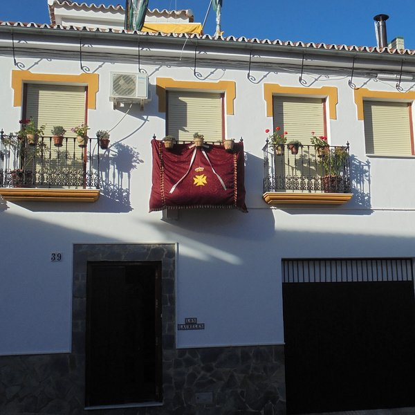 'Los Laureles'  Balconies are decorated for ´ El Día de San Juan´, which is held every June.