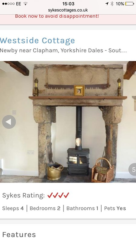Stone Fireplace with Multi-fuel Stove for cosy nights.