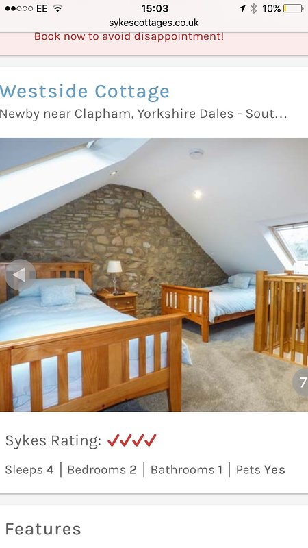 Loft Room with Twin Beds which interlock if required to double Dressing Table Draws, Wall mounted TV