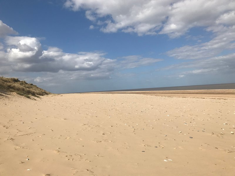 Local beach - 5mins. Borrow a flask and have a picnic in the dunes or stroll to the caf.