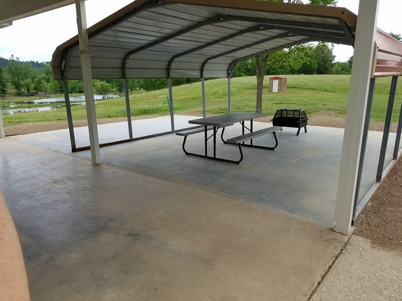 Newly added covered picnic area with firepit