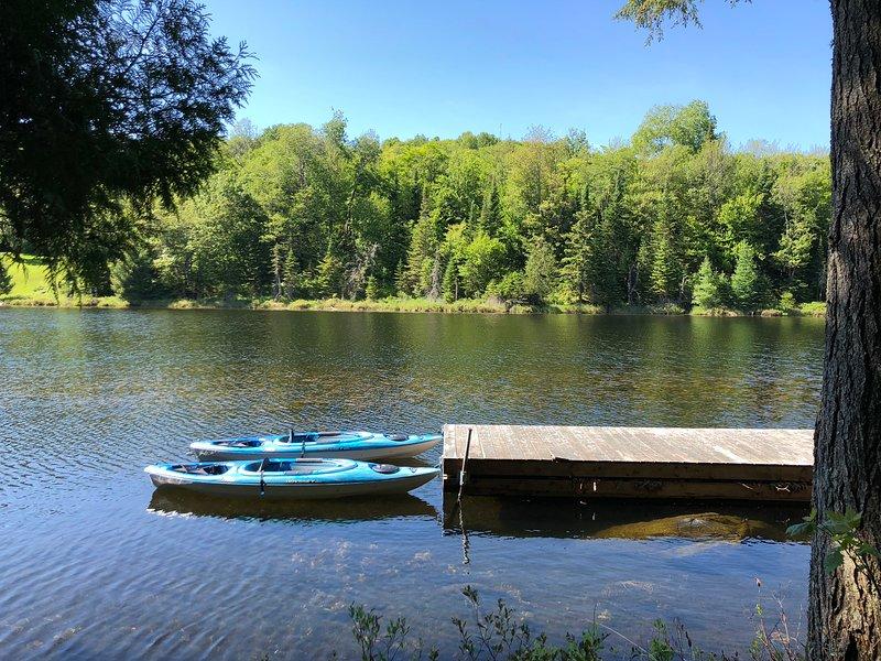 Kayaks y tablas de paddle disponibles para nuestros huéspedes
