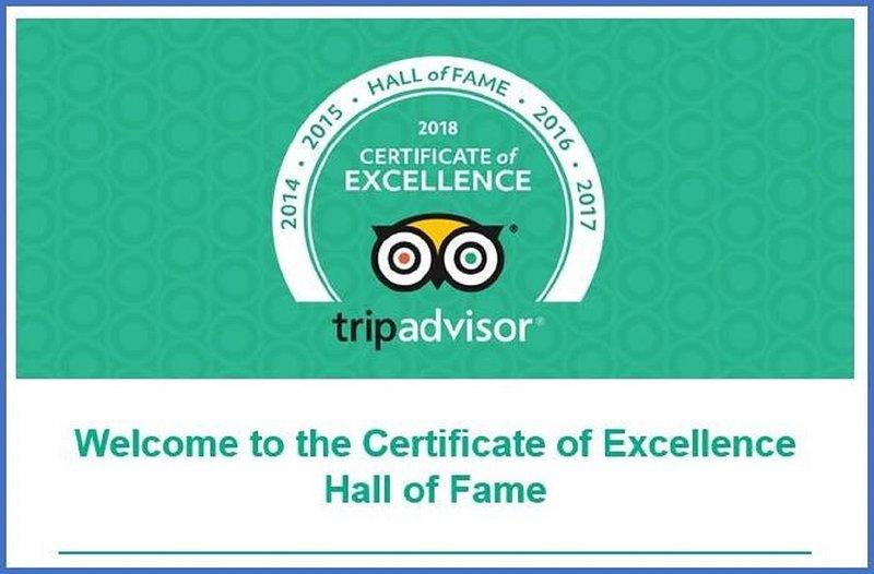 Certificato di Eccellenza e 2018 Hall of Fame.