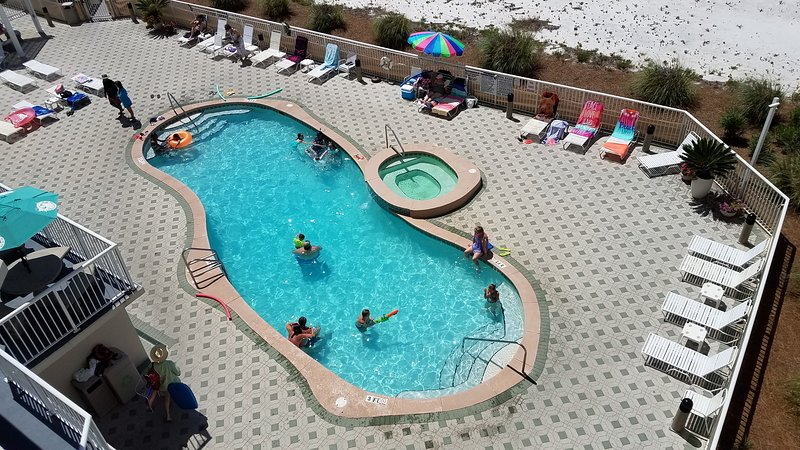 One of three pools/hot tubs; View of pool from balcony