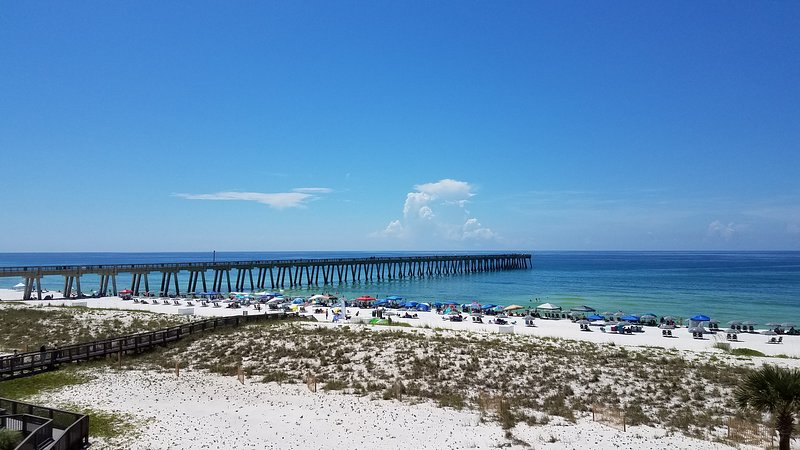 View from balcony of the beach, the Gulf & Navarre beach pier