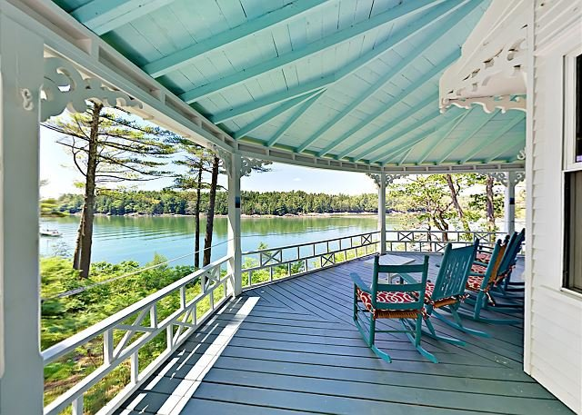 Seal Cove: Historic Waterfront Home w/ Wraparound Porch & Private Dock, vacation rental in Bowdoinham