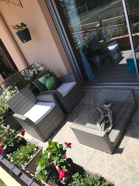 Garden furniture and sunbed