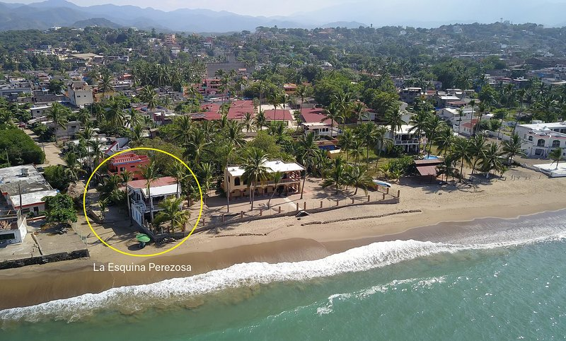 La Esquina Perezosa from the sky. We are on a very private and exclusive stretch of beach.