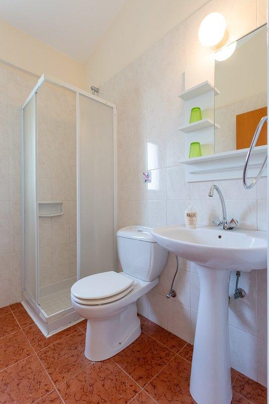 En suite bathroom with overhead shower