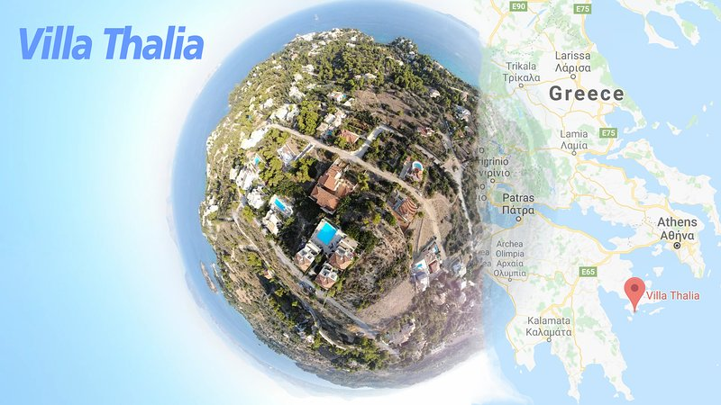 Villa Thalia con una piscina desbordante King Size