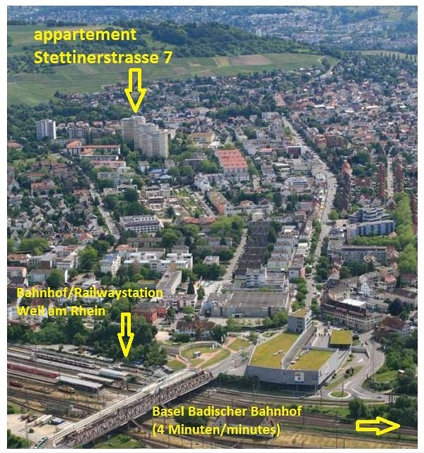 Vista aérea de Weil am Rhein con indicación del complejo de apartamentos