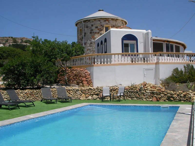 The Tower House is a unique villa that has its own private pool and stunning sea views.