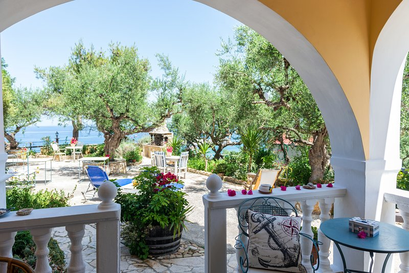 the garden with sea view with sun beds for relaxing