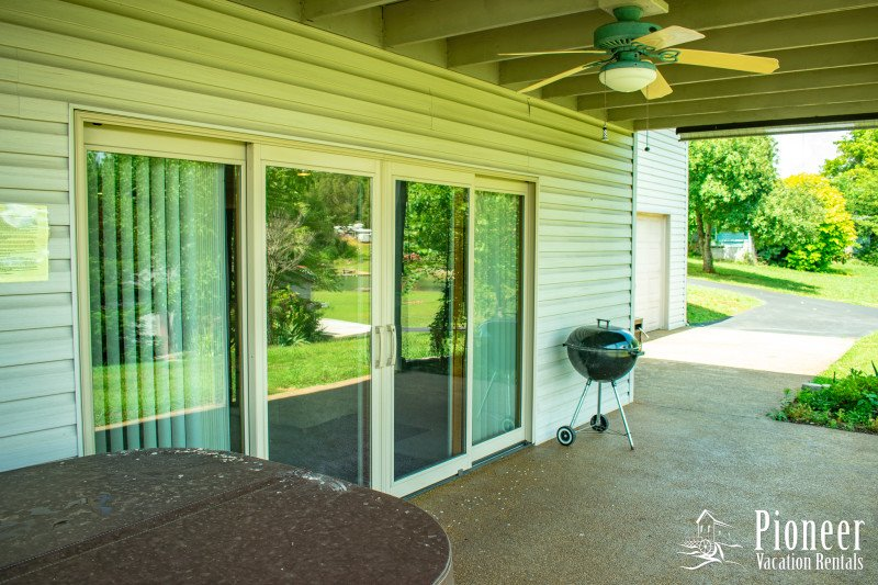 Lower Patio with Charcoal Grill and Hot Tub