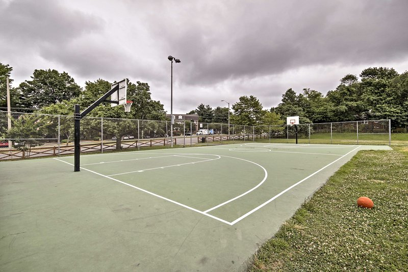Practice shooting 3-pointers on the nearby basketball court!