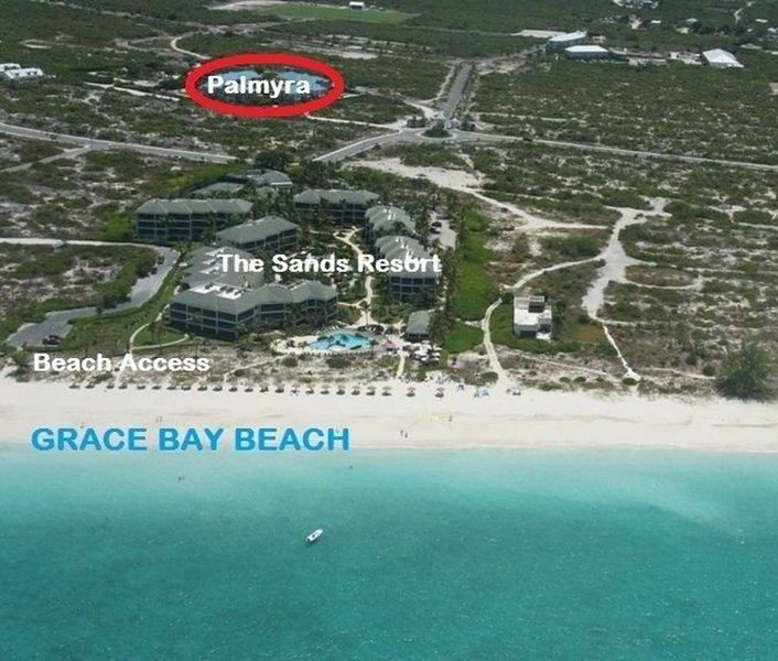 Our Location circled in red.  Short walk to Grace Bay Beach.