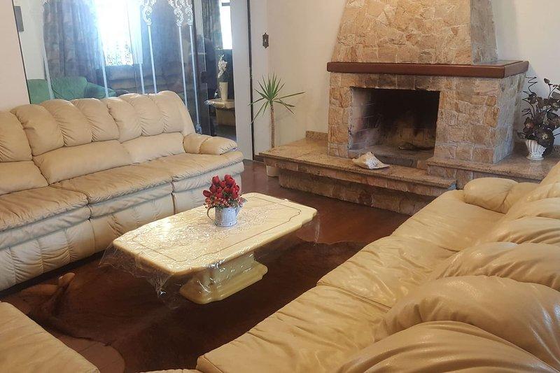 Salon avec cheminée et canapé en cuir avec 12 sièges