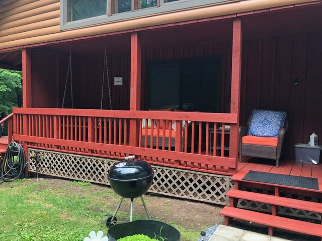 Two totally private luxury cabins under one roof. Separate porch, steps, entrance.The Trout's Stream