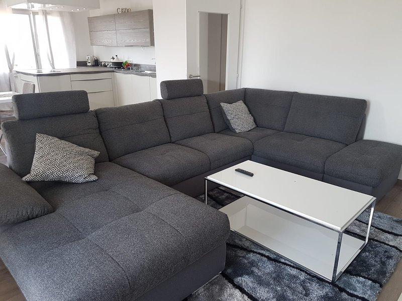 Sala de estar con cocina equipada que da a la terraza de 16m2