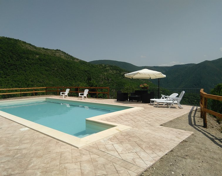 swimming pool (salt water), with a panoramic view